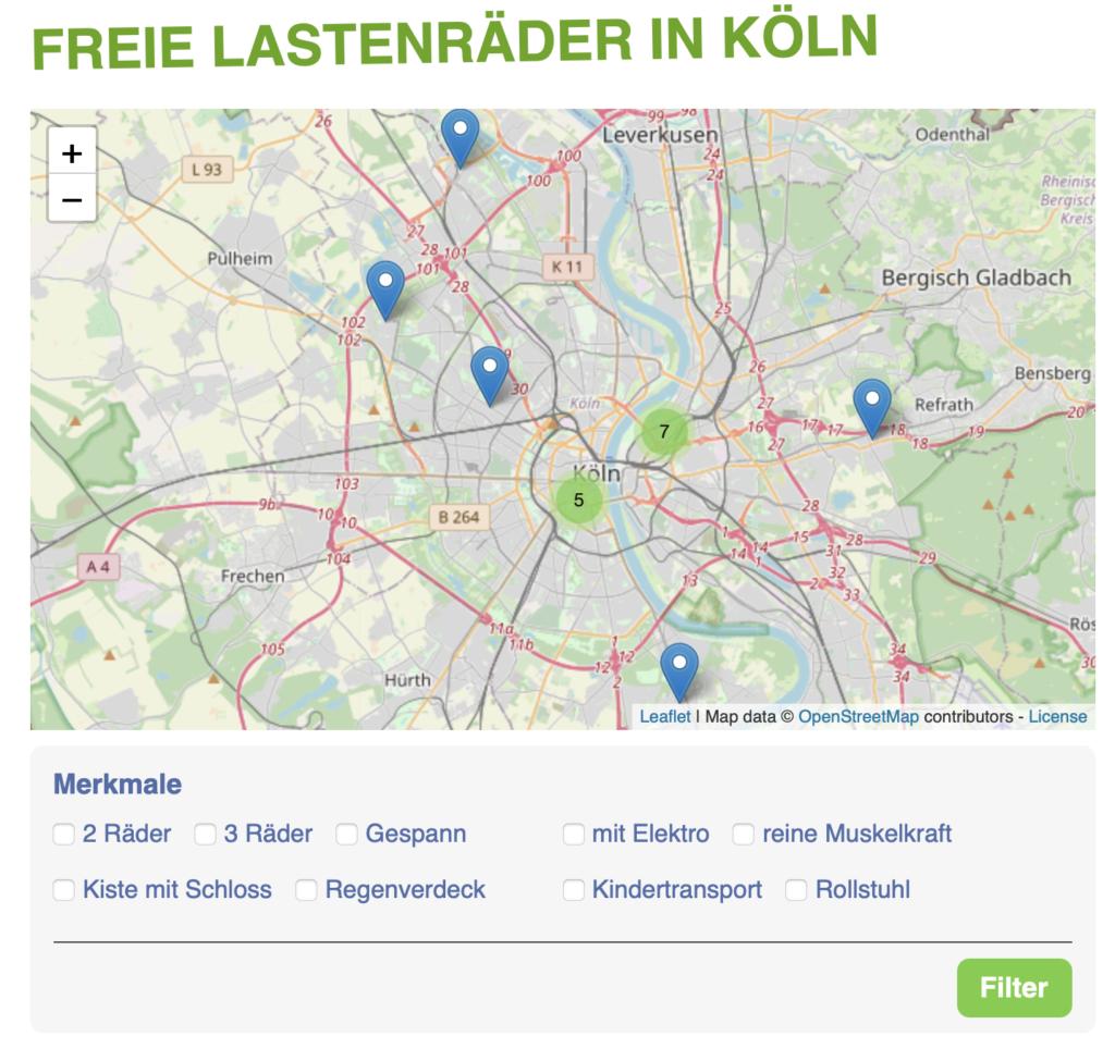 Karte mit Filter-Funktion